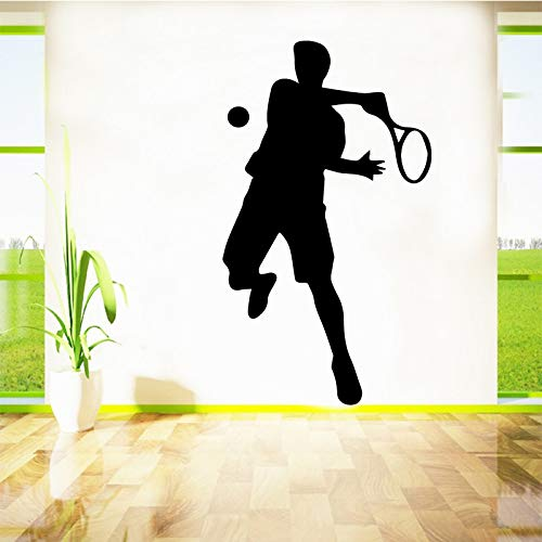 Abnehmbare Tennis Wandaufkleber Dekorative Aufkleber Wohnkultur für Kinderzimmer Dekoration Aufkleber Wandbild Blau XL 58cm X 101cm