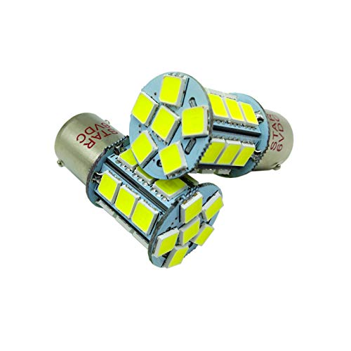 JAYUN 2 × 6V BA15S P21W 1156 1141 1003 a mené l'utilisation d'ampoule pour la lumière arrière de campeur de RV de queue de frein arrière de secours, 24SMD LEDs super blanches