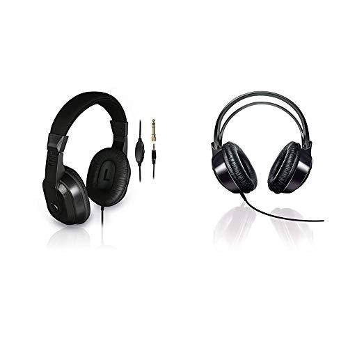 Thomson TV-Kopfhörer mit langem Kabel (Over-Ear, 8m Kabellänge, zum Fernsehen und Musik hören, mit Lautstärkeregler) schwarz & Philips Audio SHP1900/10 Over Ear HiFi-Kopfhörer mit Kabel, schwarz