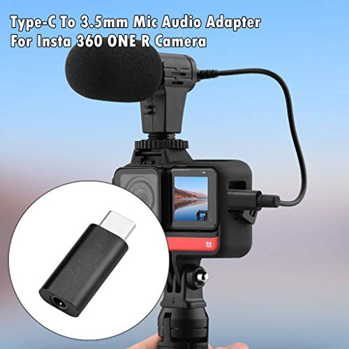 Compatible with Insta 360 One R Camera Microphone Adapter, Type-C USB-C to 3.5mm Mic Audio Microphone Adapter
