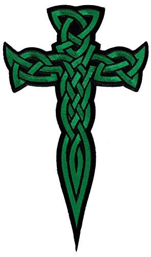 Large Celtic Cross Dagger Green Iron-On Patch Embroidered Irish Crucifix