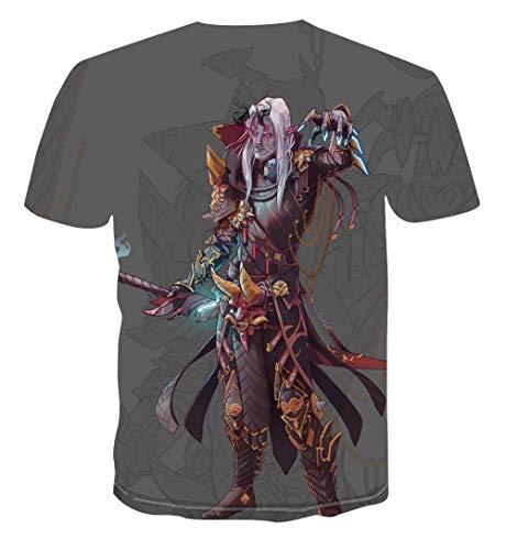 TJJF Camiseta Divertida 3D Camiseta Comic Warrior Camiseta Nueva Tendencia para Hombre Camiseta 3D Graffiti Camiseta Personalizada Anime Versátil Traje