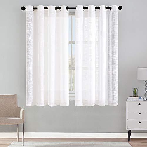 MRTREES Cortinas de Dormitorio Translúcida Moderna de Color Liso con Hebilla para Ventanas Sala para Niños Sala Comedor Baño 2 Piezas 140×175cm(An×L) Blanco