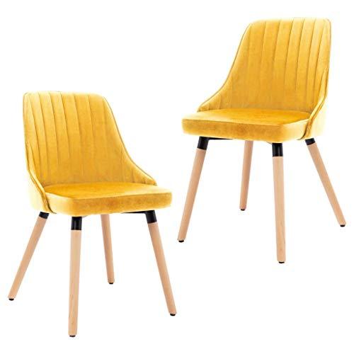 vidaXL 2X Sillas de Comedor Asiento Mobiliario Muebles de Salón Sala de Estar Cocina Escritorio Hogar Suave Cómodo Respaldo de Terciopelo Amarillo