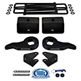 Supreme Suspensions - Full Lift Kit for Chevy Silverado 1500HD 2500HD 3500HD Adjustable 1' to 3' Front Lift Torsion Keys + 3' Rear Lift Blocks + Square Bend U-Bolts + Shock Extenders 4x2 4x4 [8-Lug]