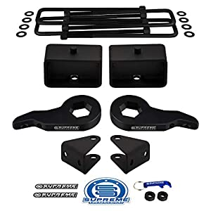 "Supreme Suspensions - Full Lift Kit for Chevy Silverado 1500HD 2500HD 3500HD Adjustable 1"" to 3"" Front Lift Torsion Keys + 3"" Rear Lift Blocks + Square Bend U-Bolts + Shock Extenders 4x2 4x4 [8-Lug]"