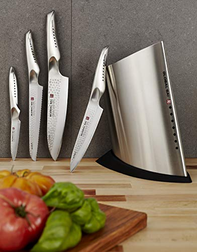 Global SAI-5001 5 Piece Knife Block Set, Silver