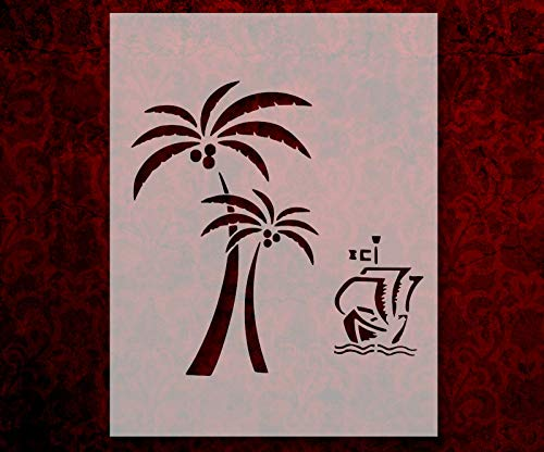 Palm Trees Sailboat Scene Scenery 8.5' x 11' Stencil Arts and Crafts Scrapbooking Painting on The Wall Wood Glass