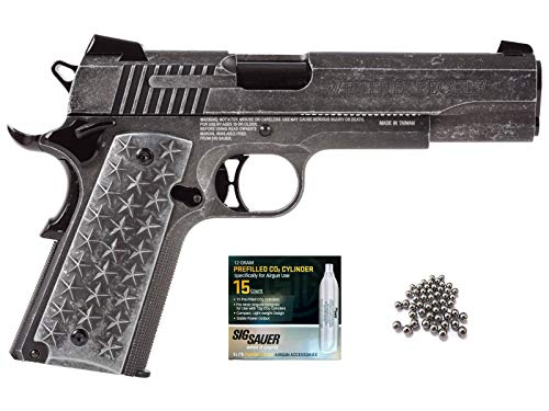 SIG Sauer 1911 BB Gun Air Pistol with CO2 12 Gram (15 Pack) Bundle (We The People)