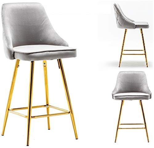 "BTEXPERT Premium upholstered Dining 25"" High Back Stool Bar Chairs, Set of 2 Pack Grey Gold"