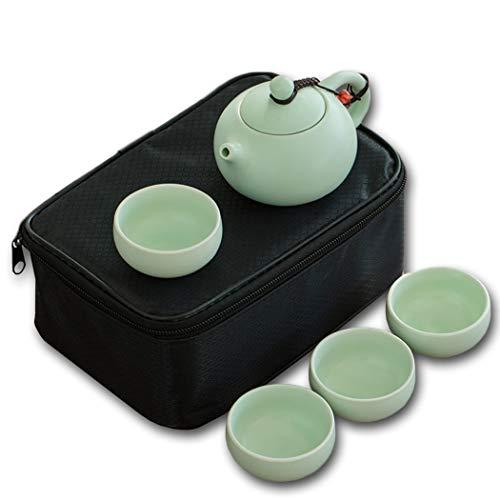 Kungfu Tee-Set, Reiseporzellan Teekanne Tasse Set mit tragbarer Aufbewahrungstasche, Porzellan-Teekanne & 4 Teetassen Geschenk-Set für Outdoor Picknick Business