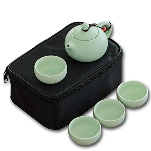 Kungfu, juego de té de porcelana de viaje con bolsa de almacenamiento portátil, tetera de porcelana y 4 tazas de té Set de regalo para picnic al aire libre
