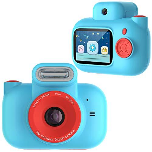 PTHTECHUS Cámara para niños, con SD de 32GB Tarjeta cámara de Video Digital para niños 1080P FHD, cámara de Regalo para niños de 3 a 10 años, Juguetes, niños y niñas, Azul , Cumpleaños