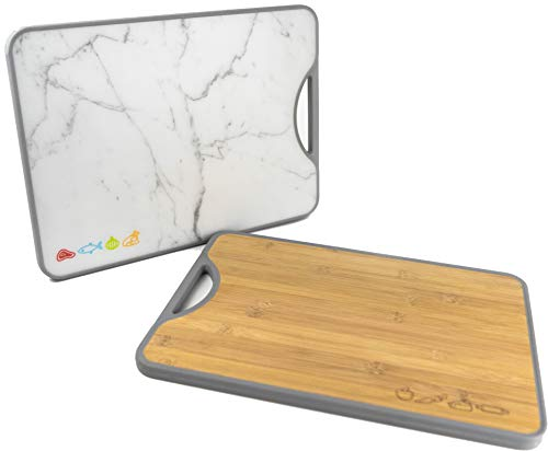 Double-sided Bamboo Poly Cutting Board | Easy to Clean | No Cross-Contamination | BPA Free