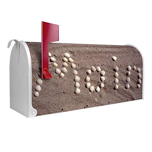 BANJADO US Mailbox | Amerikanischer Briefkasten 51x22x17cm | Letterbox Stahl weiß | mit Motiv Moin Moin, Briefkasten:ohne Standfuß