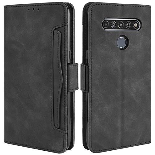 HualuBro Handyhülle für LG K61 Hülle Leder, Flip Hülle Cover Stoßfest Klapphülle Handytasche Schutzhülle für LG K61 Tasche (Schwarz)