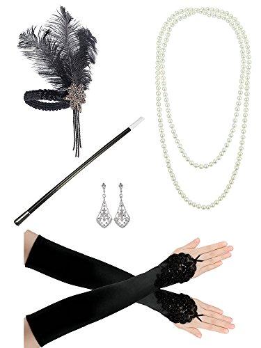 Feibao 1920er Jahre Zubehörset Flapper Kostüm Charleston ausgefallene Accessoires-1920er Jahre Flapper Stirnband Perlenkette Satin Handschuhe
