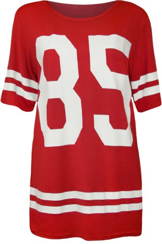 WearAll - Damen '85' Druck Kurzarm Baseball Trikot T-Shirt Top - Rot - 36-38