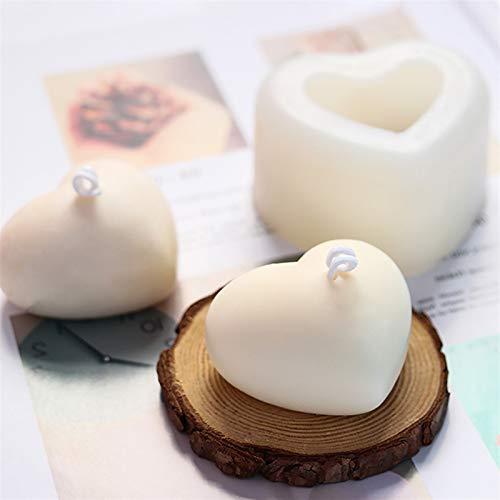 3d kärlek hjärta silikon mögel arom gips plåster silikon mögel diy kärlek hjärta ljushartsform (Color : 8x6.5x4cm)