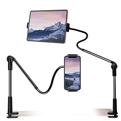 Supporto per Tablet HOCOSY Supporto Tablet Supporto iPad Porta Tablet da letto per Telefono, Ruotabile a 360 ° e adatto per Tablet / Telefono da 4,6 a 13 Pollici, 115 cm, Nero