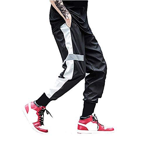 usmley Pantaloni Sportivi Uomo,per Jogger da Ginnastica Tuta Sottile Bottoms da Jogging a Cerniera Pantaloni da Corsa con Doppia Tasca(L, Nero)