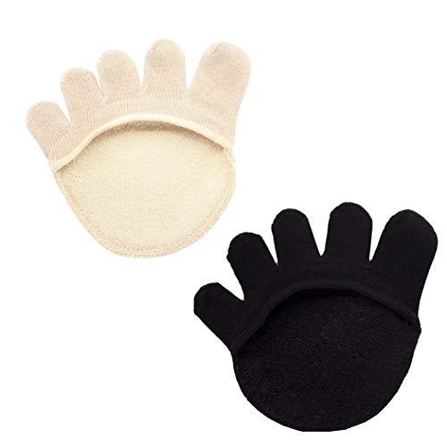FunPa 2 Pares De Calcetines De Algodón para Los Dedos del Pie para Mujer Calcetines Invisibles En El Antepié Calcetines con Forro para Los Dedos Calcetines con Almohadilla para El Antepié
