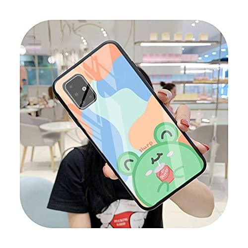 FightLY Funda linda del teléfono de la rana para Samsung S6 7 Edge Plus 8 9 10 Plus Note8 9 10pro 10E S20 Plus ultra templado vidrio a1-para Samsung Note8
