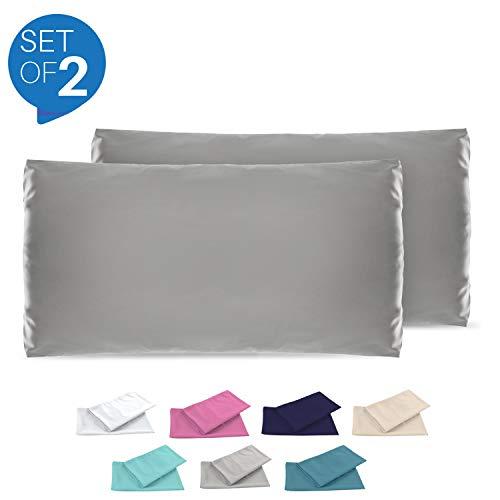 Dreamzie - 2er Set Kissenbezug 50x70 - Bezüge Anthrazitgrau - Kissenbezüge Mikrofaser (100% Polyester) - Kopfkissenbezug sehr Weich