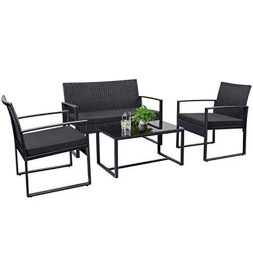Tuoze 4 Pieces Patio Furniture Set Outdoor Patio Conversation Sets Modern Porch Furniture Lawn Chairs with Glass Coffee Table for Home Garden Backyard Balcony (Black)