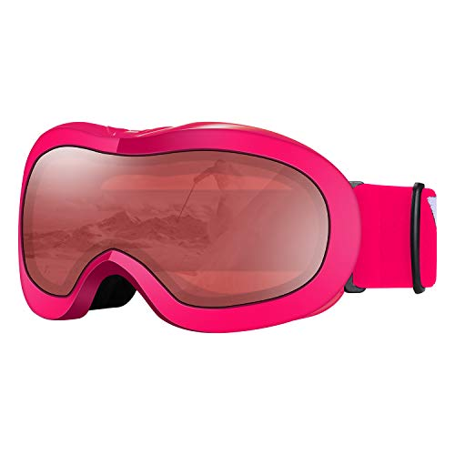 VELAZZIO Kids Ski Goggles, Snowboard Goggles OTG Snow Goggles Anti-Fog Double-Layer Lenses, 100% UV Protection (Pink Frame/Red Lens with Light Silver Coating (VLT 21%))