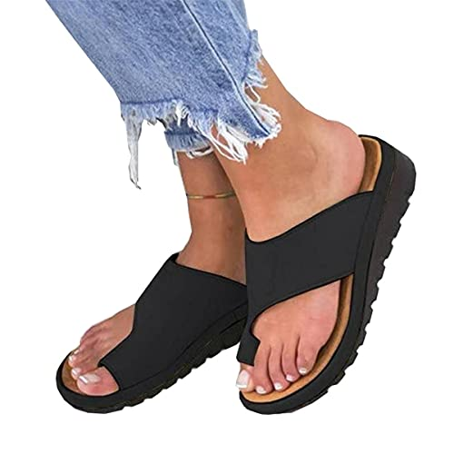 Jeauseul Slippers Shoes for Womens Orthopedic PU Leather Sandals Bunion Correction Slippers Casual Toe Separate Flat Shoes with Arch Support (A-Black, 9)