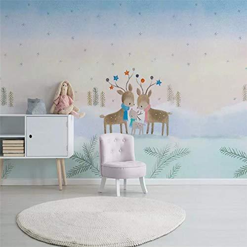 DZBHSCL 4D behang wandschilderingen, Nordic cartoon schattige eland dier sneeuw scène kunstdruk formaat fotobehang voor kinderkamer kinderkamer achtergrond wanddecoratie 112in×184in 280cm(H)×460cm(W)