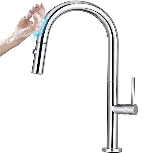 YITAHOME Touch On Kitchen Faucet Brass Copper Chrome Sink Water Faucet with Pull Out Sprayer, Single Hole Single Handle