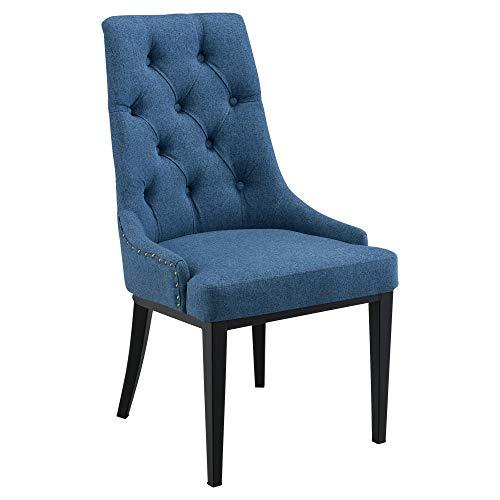 Silla de Comedor en diseño Chesterfield 100 x 53 x 60 cm Sillón Elegante Silla de Cocina o Salón Patas de Metal Vintage Asiento Tapizado Azul Oscuro
