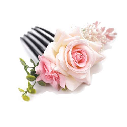 Kercisbeauty Blush Pink Rose Haarkamm Blatt Kopfschmuck Hochzeit Brautschmuck VINage Haar Kleid Boho Haarkamm Frauen Mädchen Festival Party Karneval Kopfschmuck
