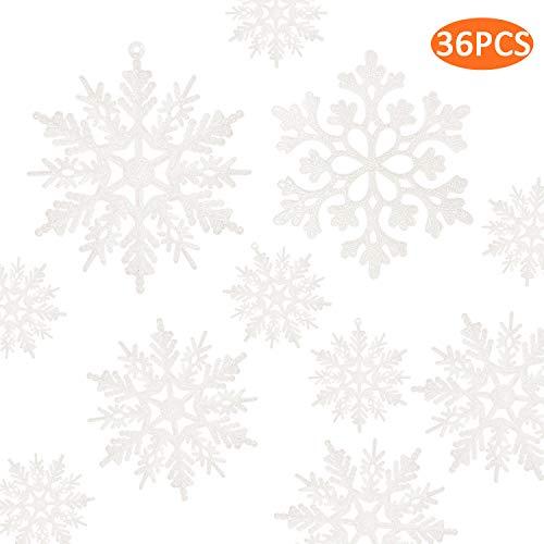 kockuu 36pcs Plastic Snowflakes White Glitter Snowflake Ornaments for Christmas Tree Decorations
