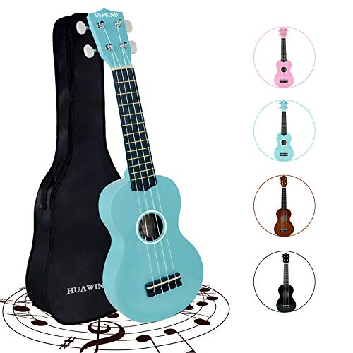 HUAWIND Soprano Ukulele for Beginners, Adults Ukulele Four String Wooden Ukulele 21 Inch Music Instruments With Gig Bag For Students Adults Starters(Light Blue)