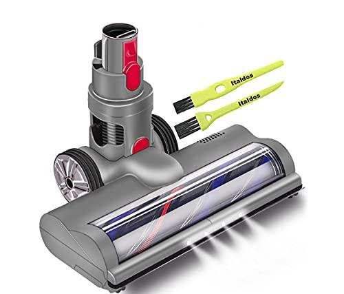 Italdos Cepillo motorizado eléctrico Turbo compatible con Dyson V7 V8 V10 V11 Cepillo de liberación rápida con rodillo de cerdas para alfombra suelo parquet baldosas con luz LED automática