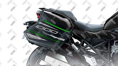 KIT 2 Sticker Cases SEITENFÄLLE KOMPATIBEL MIT Kawasaki VERSYS 1000 2015-2020 VVERSYS-002 (Black)