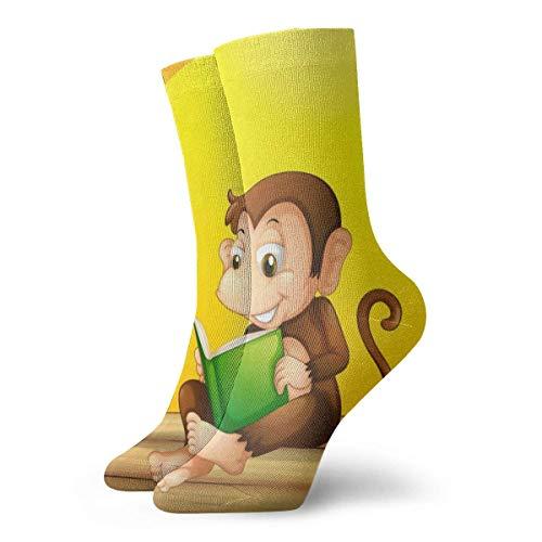 wwoman Neuheit lustige verrückte Mannschafts-Socken-Affe-Lesung druckte Sport-athletische Socken 30cm lange personifizierte Geschenk-Socken