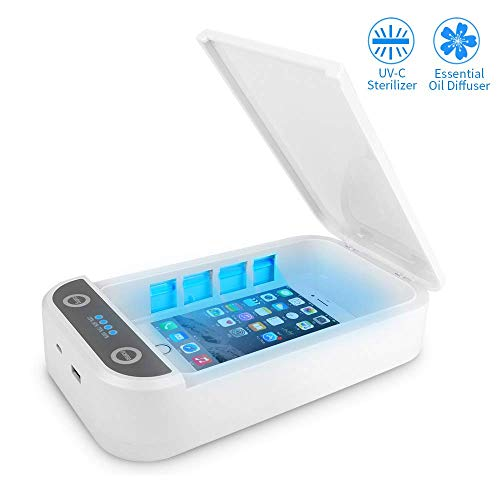 YICHUMY UV Cell Phone Cleaner Sanitizer Sterilizer with Wireless Charger Holder  Smartphone Sterilizer Cell Phone Cleaners UV Light Sanitzier Box for Mask/All Phones/Jewelry Watch White