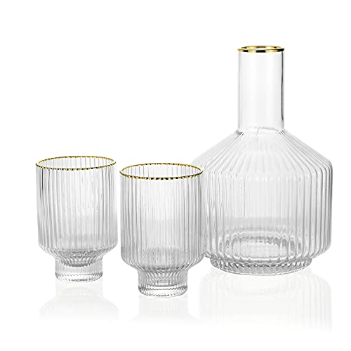 G bedside water carafe glass 1 pitcher 2 cups set with cleaning brushes for night time water decanter tumbler night-stand table bedroom handy cup jug tumblr crystal clear guest vintage style