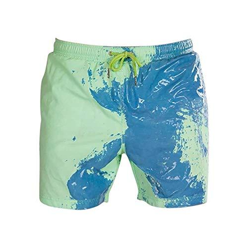 Summer Men's Swimming Shorts Temperature-Sensitive Color-Changing Beach Pants Swim Trunks Shorts Color Changing Swimwear,Child Green 1,XXXL