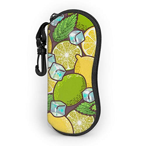 Seamless Lime Lemon And Peppermint Sunglasses Case Eyeglass Glasses With Carabiner Case Hook Soft Case Ultra Light Neoprene Customized