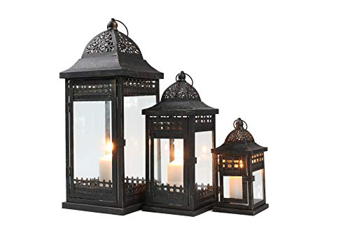 JHY DESIGN Set of 3 Decorative Candle Lanterns 9.5'&14.5'&20' High Vintage Style Hanging Lantern, Metal Candleholder for Indoor Outdoor, Events, Parities and Weddings((Black with Gold Brush)