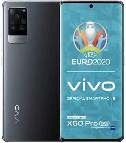 vivo X60 Pro 5G, Midnight Black, 12 + 256 GB, 16,5 cm (6,5 Zoll) AMOLED FHD+ Display, NFC, Fingerabdrucksensor, 4200 mAh Akku mit Qualcomm Snapdragon Prozessor, SIM-Freies Smartphone, Dual-SIM