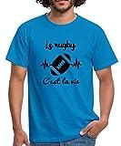 Spreadshirt Le Rugby C'est La Vie T-Shirt Homme, 4XL, Bleu Royal