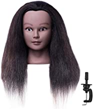 """CZFY African American Mannequin Head with 100% Real Hair and Adjustable Stand 18-20"""" for Braiding Hair Styling Training Hairart Barber Hairdressing Fashion Salon Display (Black2)"""