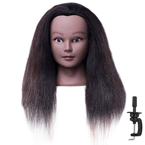 """CZFY African American Mannequin Head with 100% Real Hair and Adjustable Stand 20-22"""" for Braiding Hair Styling Training Hairart Barber Hairdressing Fashion Salon Display"""