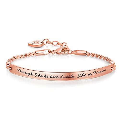 Annamate Inspirational Graduation Gifts Bracelet Bangle Motivational Mantra Quote Engraved Message for Women Teen Girls Birthday Jewelry (Though she be but Little she is Fierce - Rose Gold)